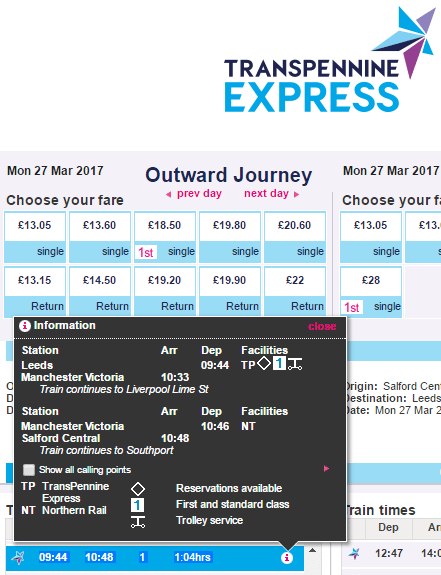 "TransPenninge Booking site showing ""reservations available""."