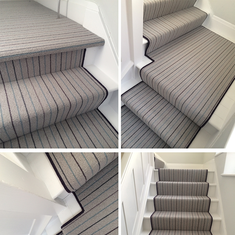 Grey Wool Carpet With Bound Runner To Stairs Kings Interiors | Grey Carpet Stairs And Landing | Teal | Open Plan | Pinterest | Commercial | Wall