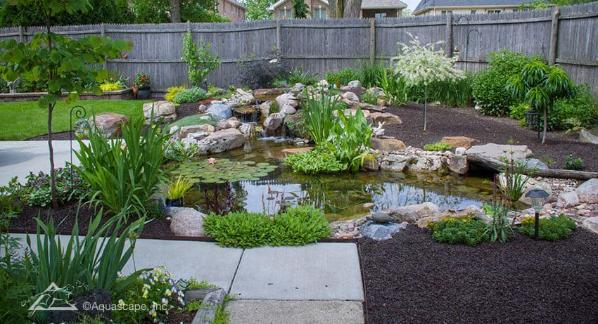 Aquascape water feature in yard