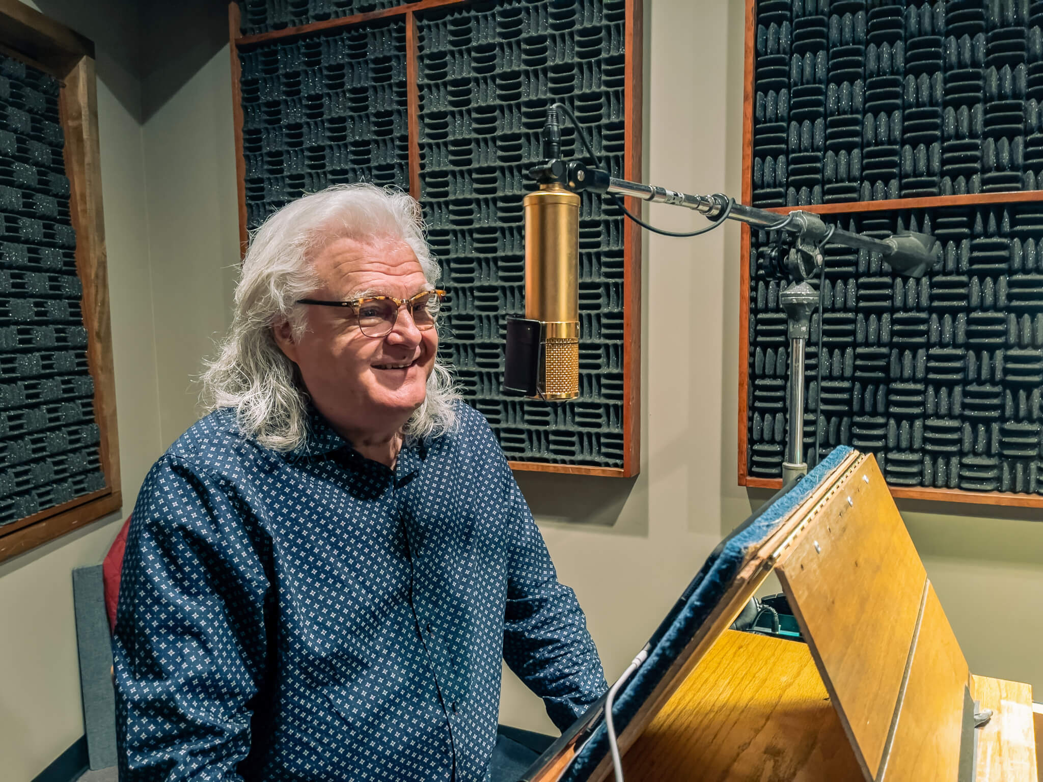 Ricky Skaggs in audio recording booth