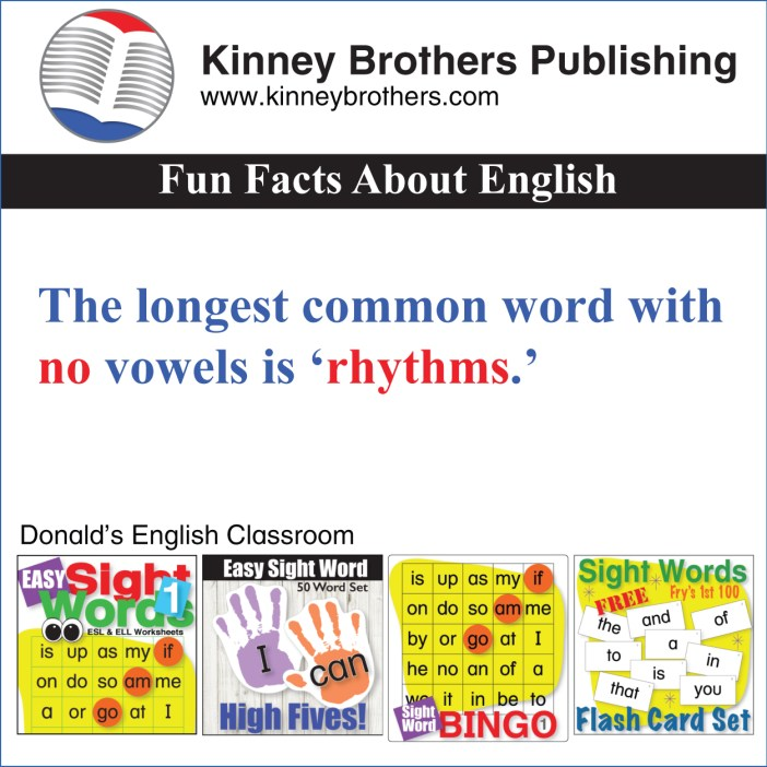 Fun Facts About English 19 Kinney Brothers Publishing