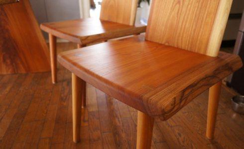 ケヤキ無垢一枚板椅子