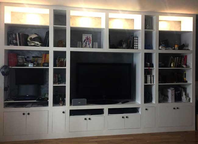 fabriquer un grand meuble tv bibliotheque