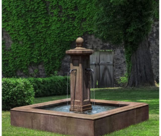 Luberon Large Square Basin Driveway Outdoor Stone Water Fountain