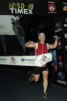 Sean finishing Ironman Canada, 2012