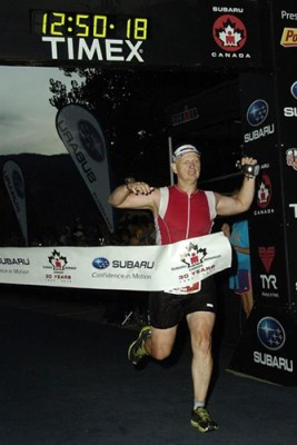 Sean finishing Ironman Canada, 2012