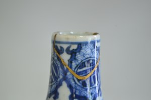 Sake bottle with kintsugi repair.