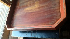 Meiji lacquer tray, repair, after sanding