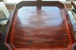 Meiji tray lacquer repair