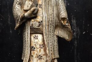 Edo male figure  traditional, lacquer based kintsugi