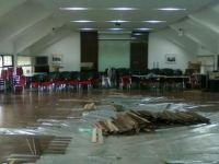 pemasangan lantau kayu di ITB