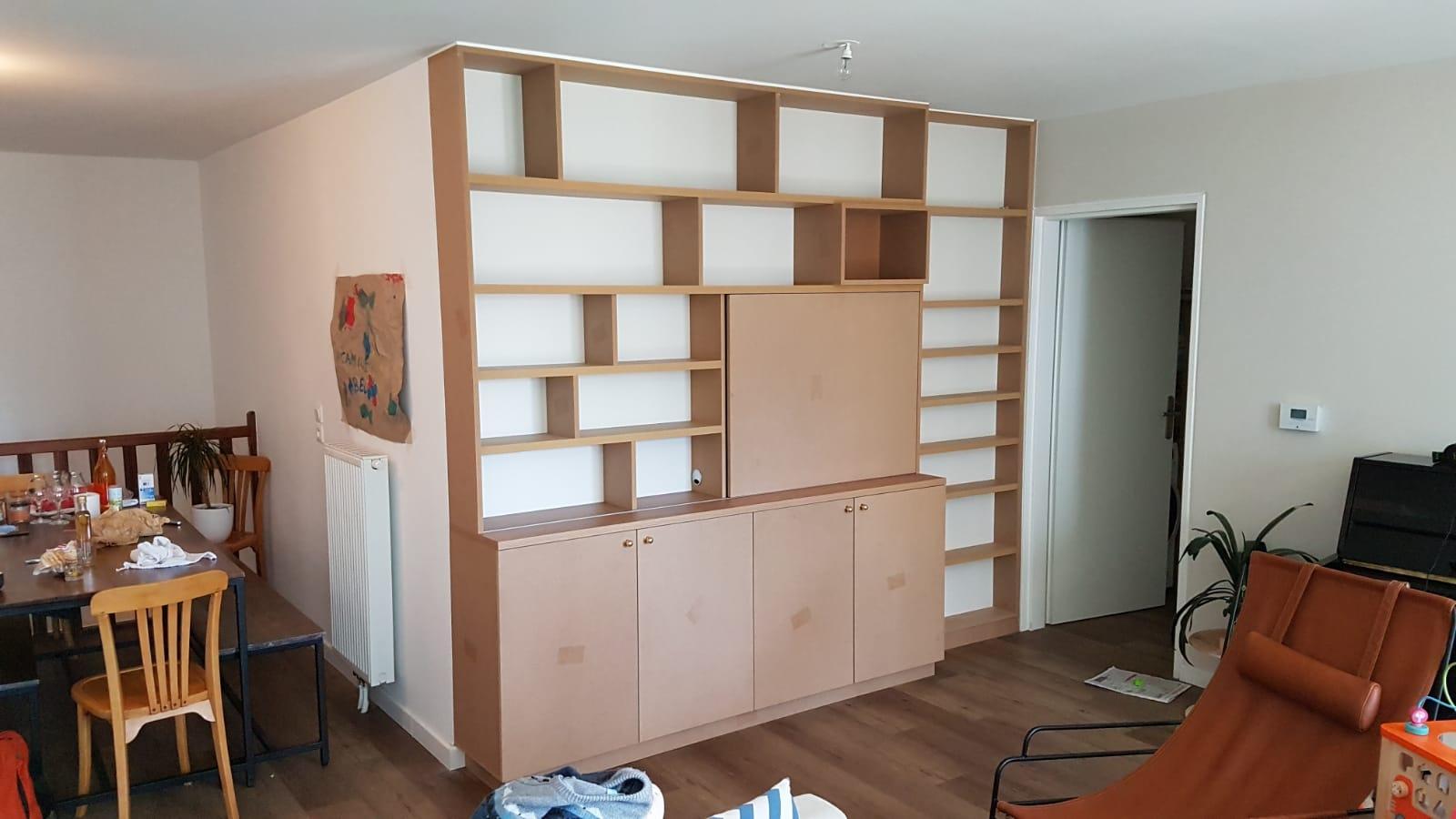 meuble hifi avec panneau coulissant