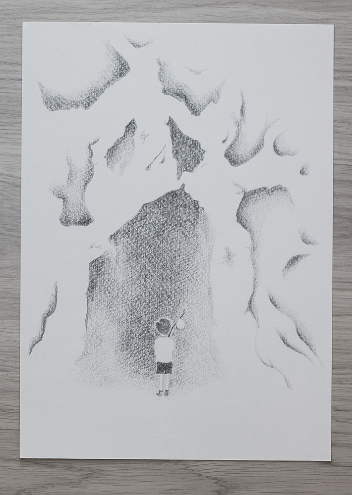 Into the cave he goes - Illutration by Kira Bang-Olsson