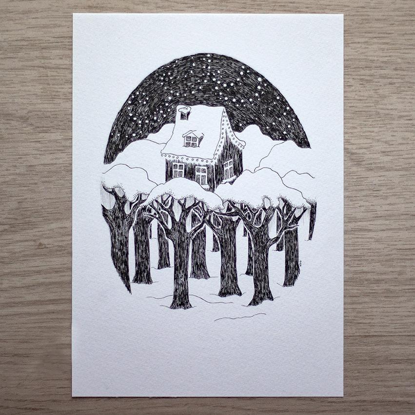 Winter lights - Illustration by Kira Bang-Olsson