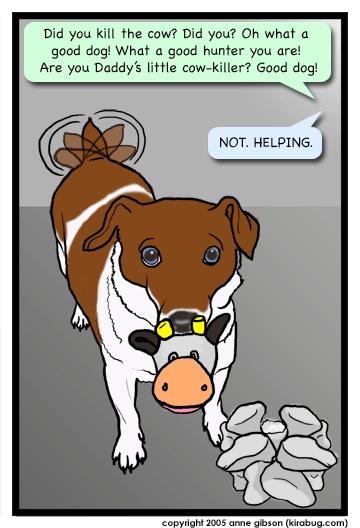 Daisy holding a cow head.