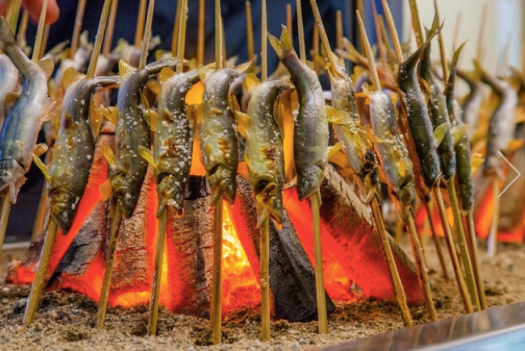 barbecued river fish