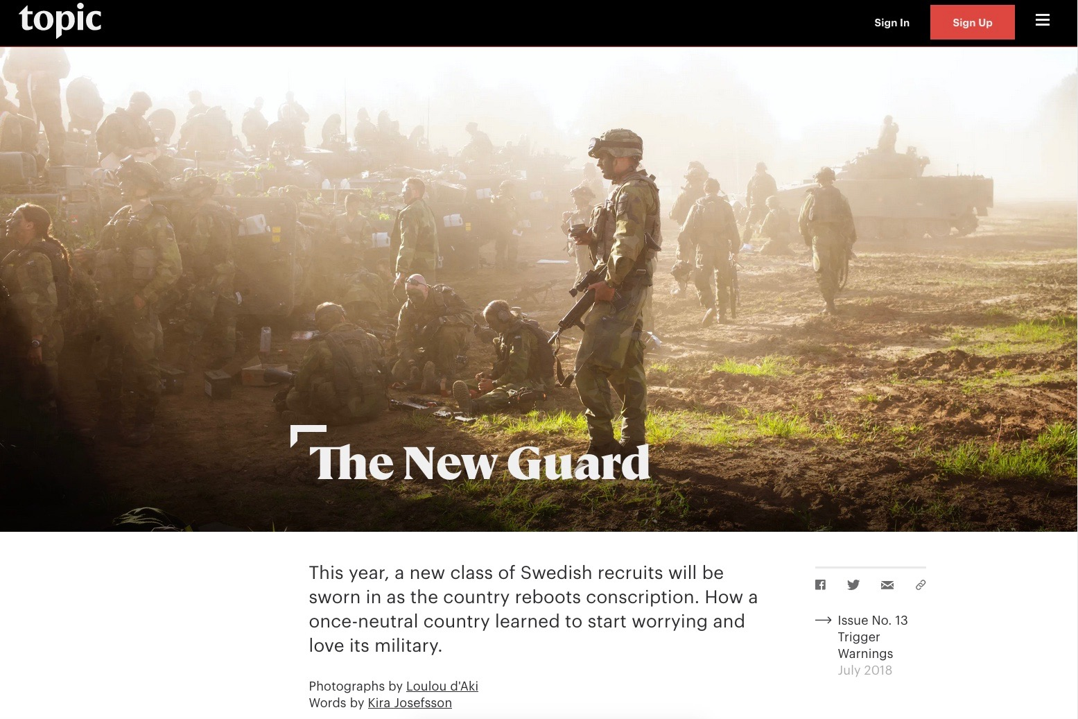 Swedish conscripts standing on a field in hazy light, photographed by Loulou d'Aki.