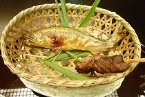 信州牛ヒレ肉と鮎の塩焼き