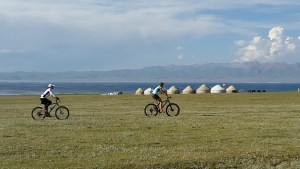 """E Mountain Bike"" in Kyrgyzstan trails"