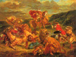 Картин Делакруа львиная охота