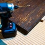 杉板の古材風アイアンレッグテーブルDIY