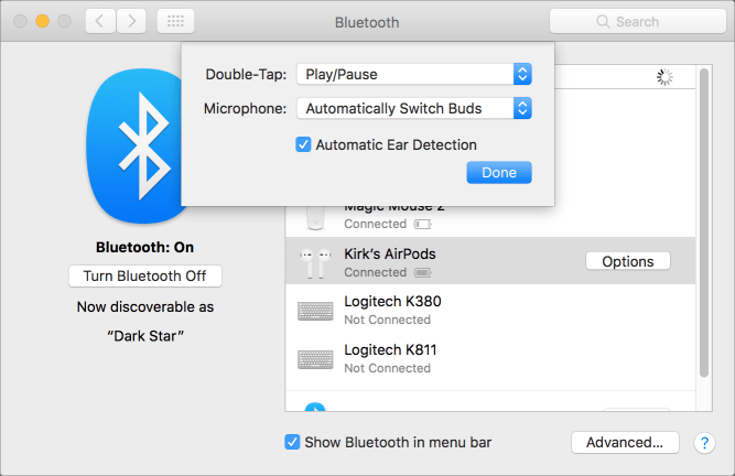 Airpods options osx