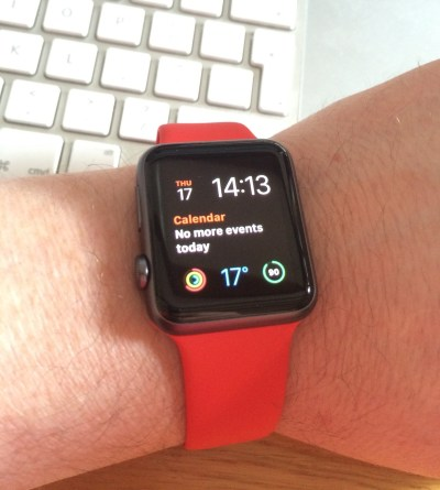 Black apple watch red band