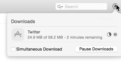 Downloads popover