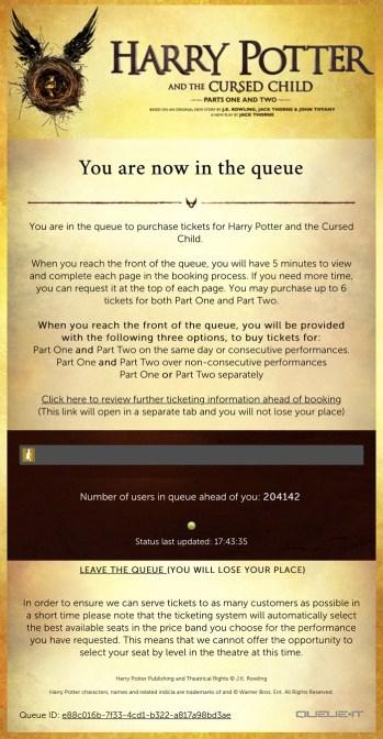 Harry potter tickets