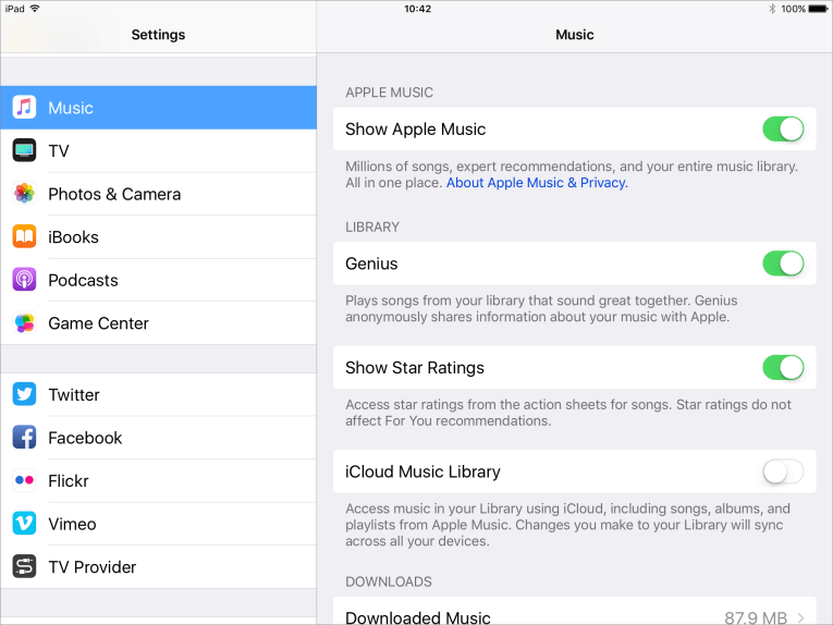 Ios music settings