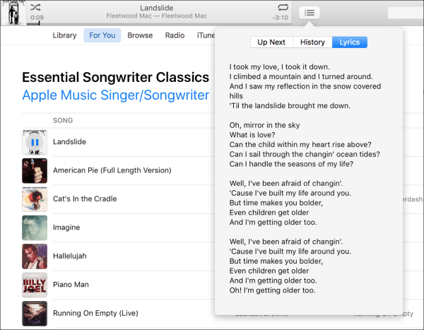 Itunes 12 5 lyrics
