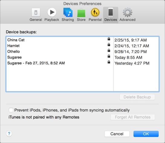 Itunes backups prefs