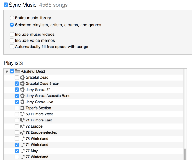 Itunes sync playlists