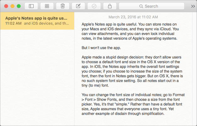 Notes tiny font