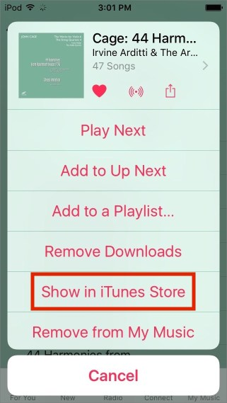 Show in itunes store