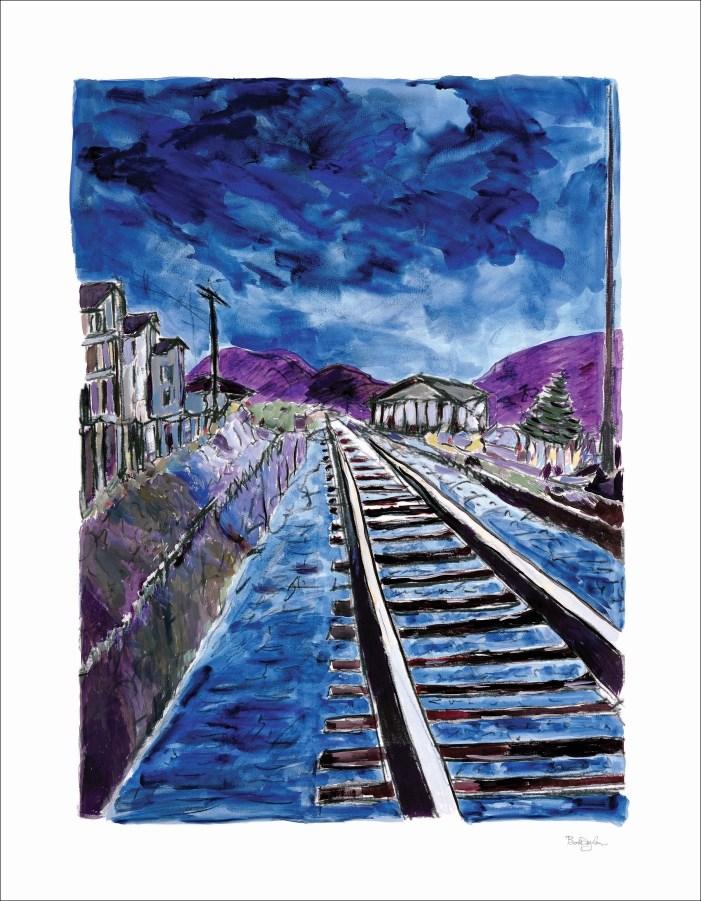 Train tracks blue