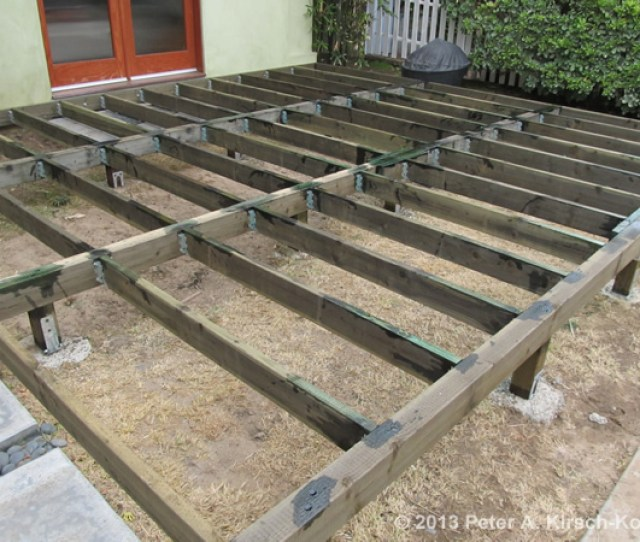 Deck Building Step  Showing Planed Areas Treated With Preservative For A Heavy Duty Beach