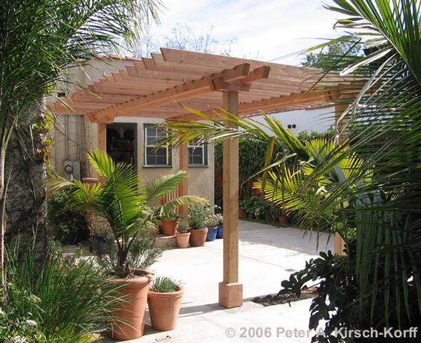 Spanish Bungalow Wood Pergola Los Angeles CA