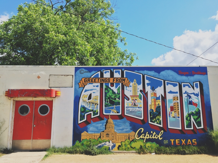 Austin's postcard mural wall has become an iconic symbol of the city and has been copied by other cities. It was created in the 90's by artist Todd Sanders and his friend Rory Skagen then restored in 2013.