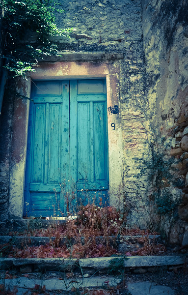 Blue door in Chalki - Island of Naxos in Greece