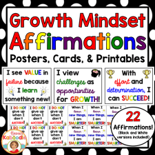 These growth mindset affirmations posters, cards, and printables are perfect for teachers looking to help students shift their mindset about their abilities and potential.
