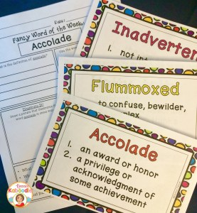 Create a fun vocabulary program that infuses your reading and writing instruction with fancy words. Along with the sophistication that comes with these learning fancy words, your students will also receive vocabulary poster cards and printable worksheets.