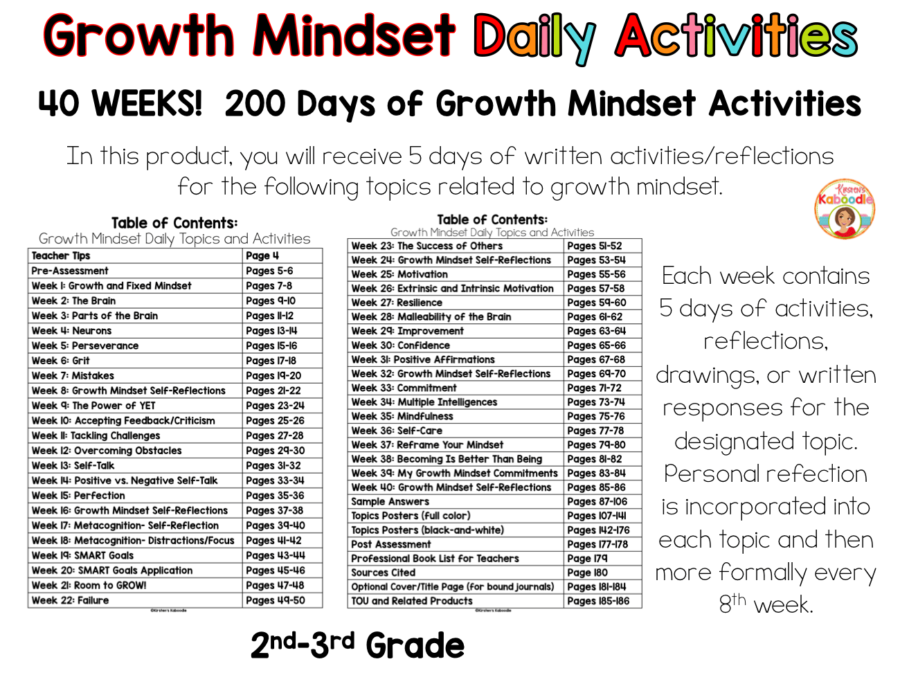 Growth Mindset Bell Ringer Bundle 2nd Grade And Up Kirsten S Kaboodle