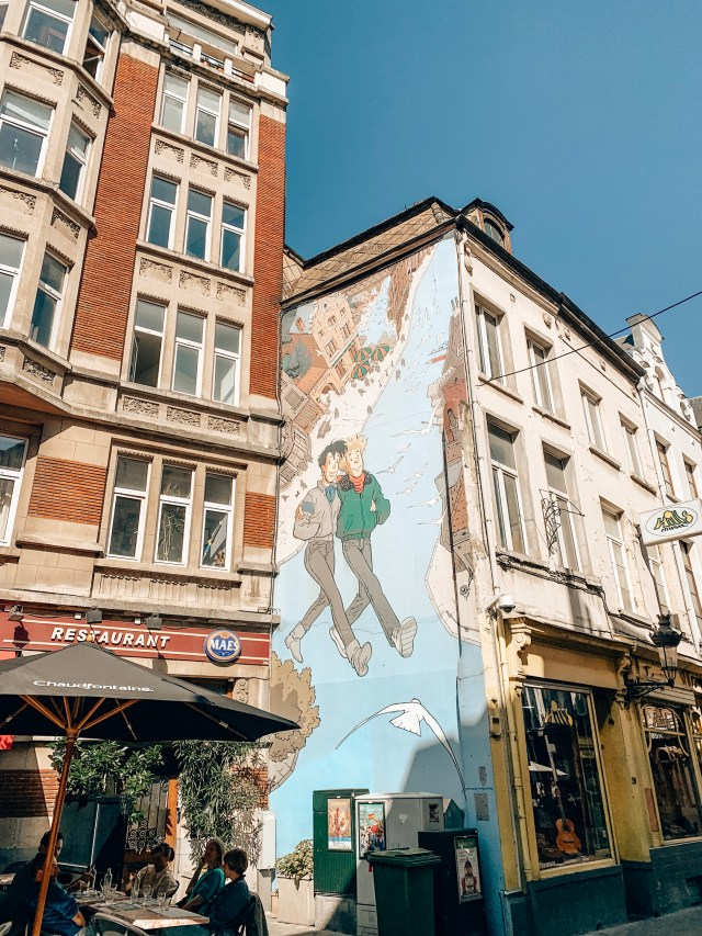 A mural showing two friends from the comic book Broussaille walking around Brussels, part of the Brussels Comic Book Route