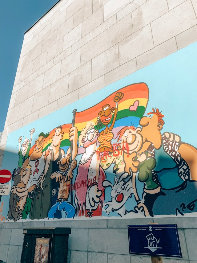 A mural showing many different cartoon characters from the LGBT+ community. Part of the Brussels Comic Route