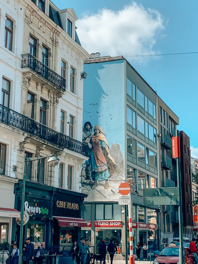 A mural of comic book strip Thermal, in Brussels, Belgium