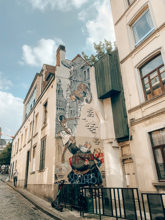 A mural of the cartoon Odilon Verjus, part of the Brussels Comic Book Route