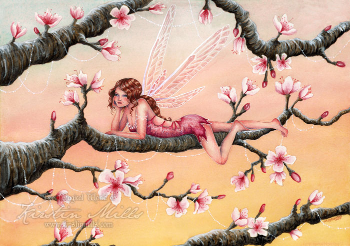 Sunset Blossoms Fairy Art by Kirstin Mills, Fairy Tales, Fairies and Fantasy Art and Illustration