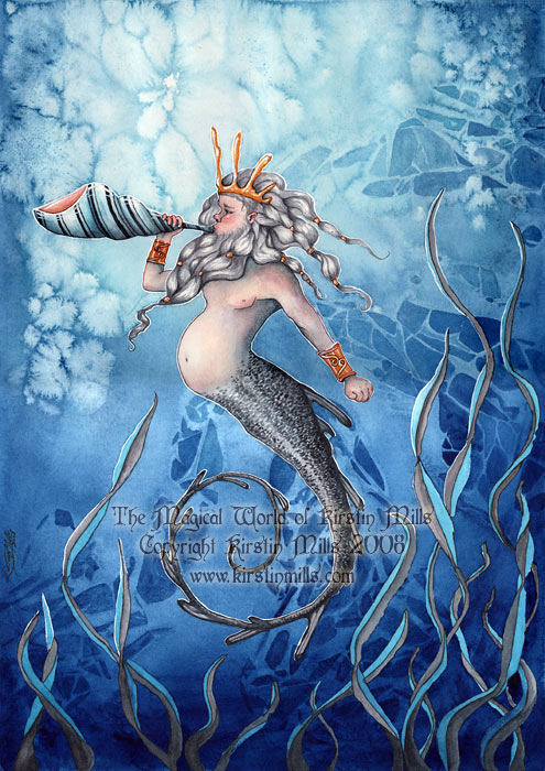 Call of the Sea Merman Art by Kirstin Mills, Fairy Tales, Fairies and Fantasy Art and Illustration