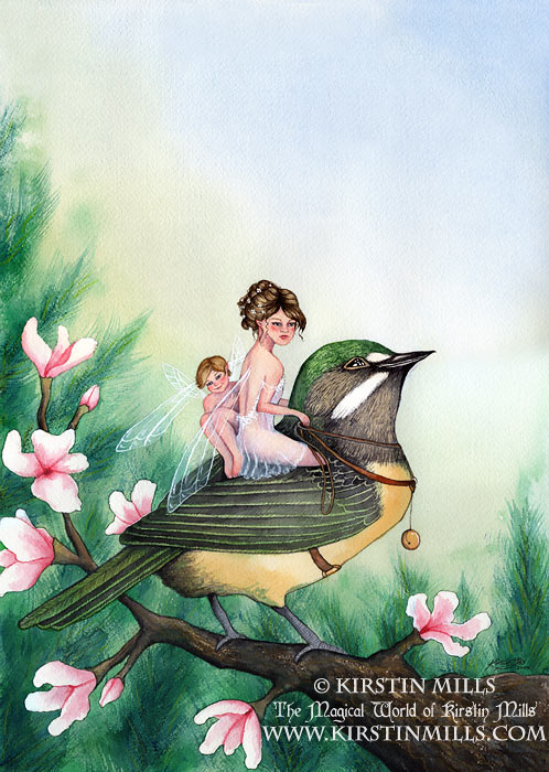 Fairy Warbler Fairy Art by Kirstin Mills, Fairy Tales, Fairies and Fantasy Art and Illustration
